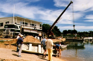 Preparing a dinghy to accompany a pontoon